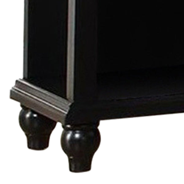 Poplar Wood Night Stand With Drawer, Black - BM171575