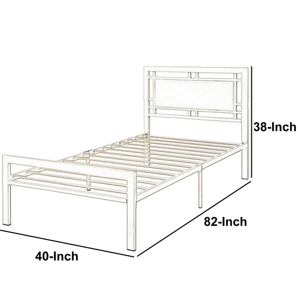 BM171745 Metal Frame Twin Bed With Leather Upholstered Headboard, White