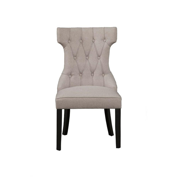 BM171969 Upholstered Button Tufted Side Chairs With Wooden Base Set Of 2, Gray
