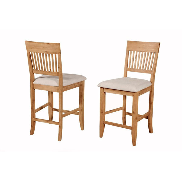 BM172053 Wooden Pub Chair With Beige Fabric Upholstery, Set Of 2