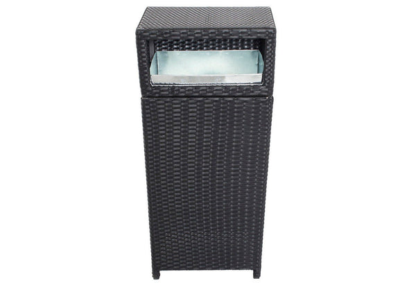 Rattan and Aluminum Outdoor Trash Can Black - BM172093