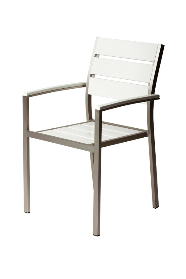 BM172094 Metal Chairs With Slated Back Set of 6 Gray and White