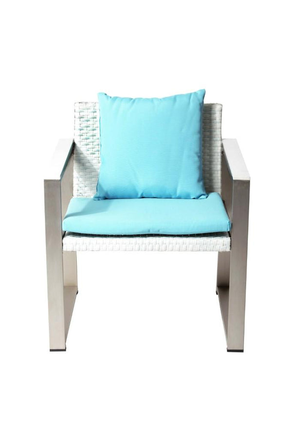 BM172111 Anodized Aluminum Upholstered Cushioned Chair with Rattan, White/Turquoise