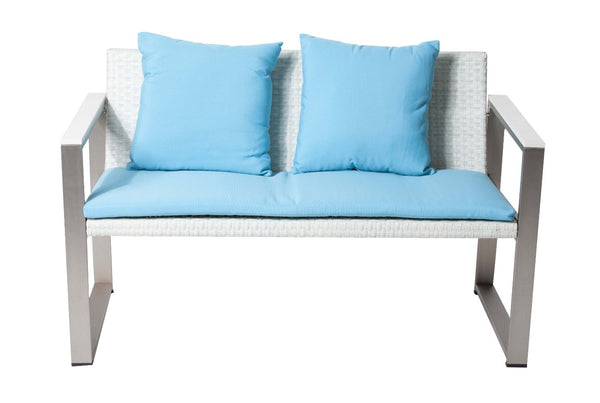 BM172112 Aluminum Upholstered Cushioned Sofa with Rattan, White/Turquoise