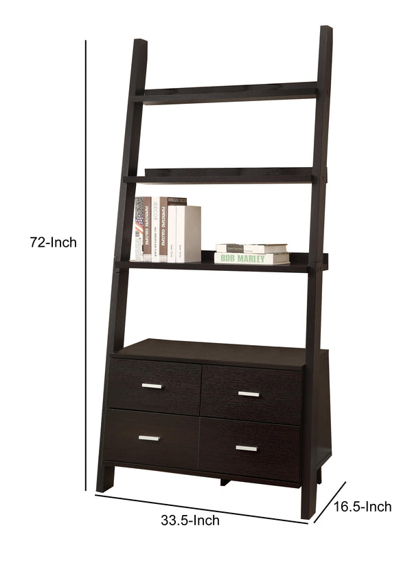 Ladder Bookcase With 4 Storage Drawers And Open Shelves, Cappuccino - BM172220