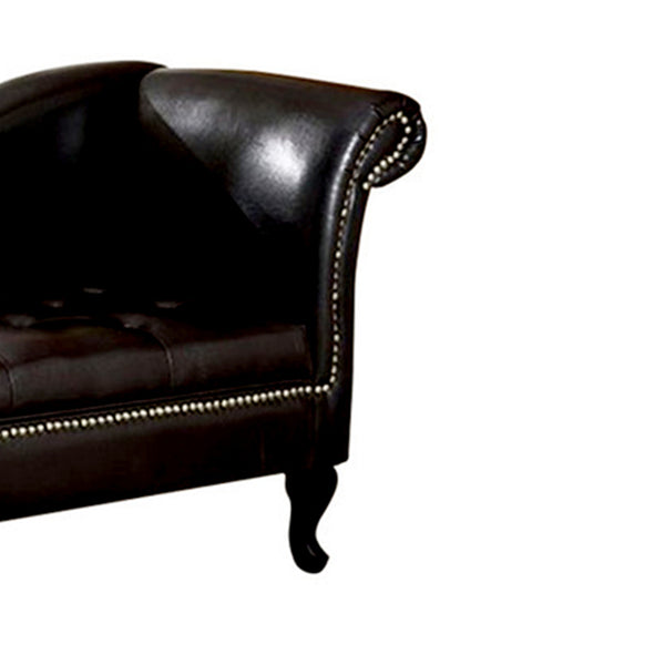 Glorious Contemporary Leatherette Storage Chaise, Black - BM172748