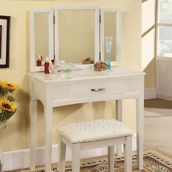 Pearl White Transitional Vanity Table With A Stool, White Finish - BM172790