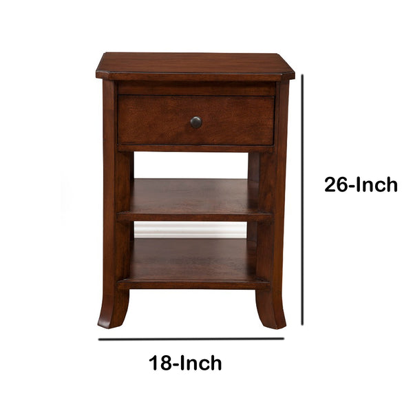 Chicly Trimmed Mahogany Solids & Veneer Nightstand, Brown - BM172838
