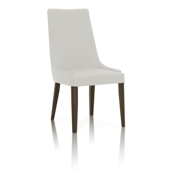 BM174176 Dining Chairs With Sleek Wooden Legs Set of 2 White and Brown