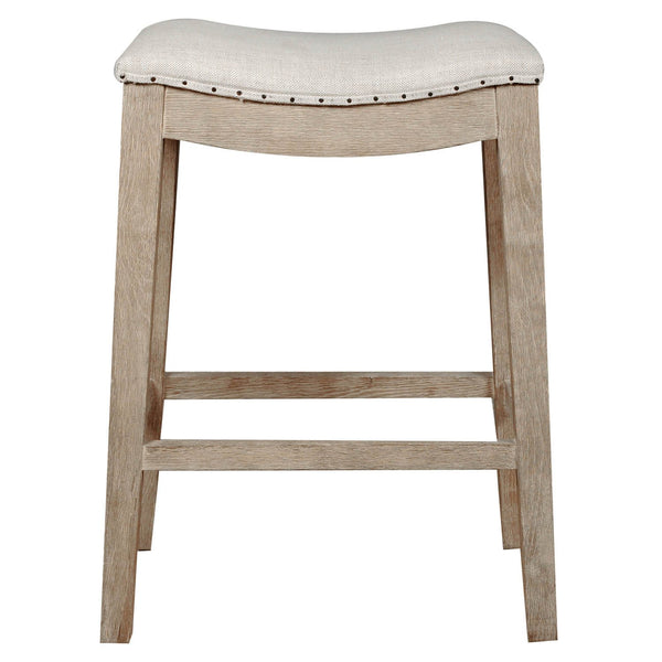 BM174236 Upholstered Counter Stool, Stone Wash Brown