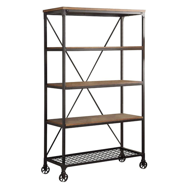 BM174354 Metallic Book Case With Wooden Top And Shelves, Brown & Black