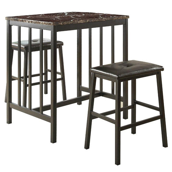 BM174357 Counter Height Set In Metal, Faux Marble & Leatherette, Black, Set Of 3