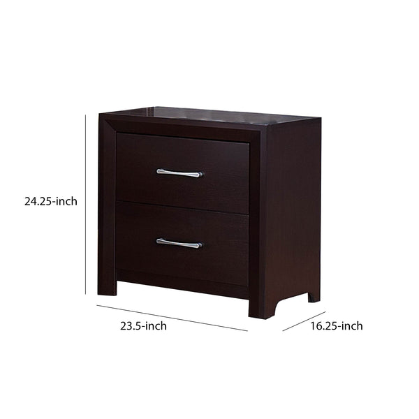 BM174480 Wooden Night Stand with 2 Drawers Espresso Brown