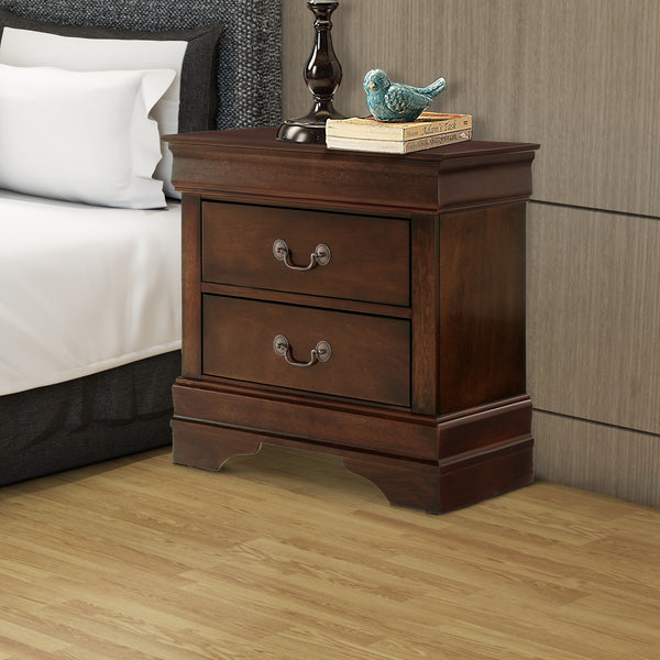 Wooden Night Stand With Curvy Handle Drawer Cherry Brown - BM174482