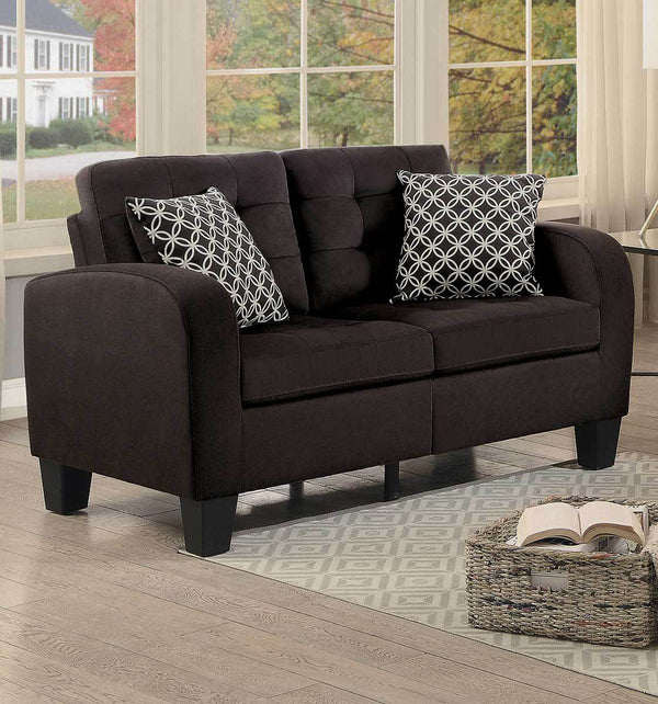 BM175930 Contemporary fabric Love Seat With Tufted Backrest And Seat, Chocolate Brown Finish