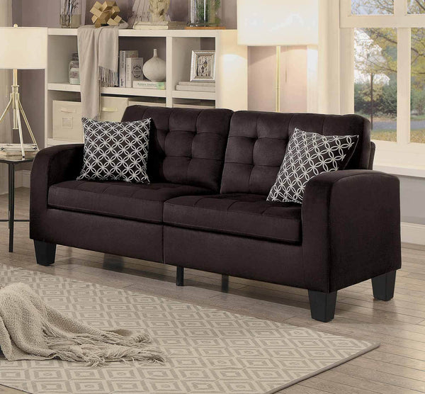 BM175931 Contemporary Style Wooden Sofa With Tufted Backrest And Seat, Chocolate Brown Finish