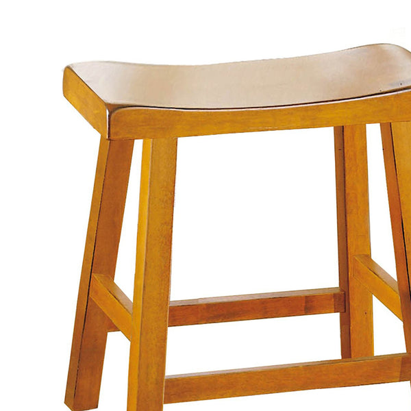 "BM175971 Wooden 18"" Counter Height Stool with Saddle Seat, Oak Brown, Set Of 2"