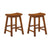 "BM175972 Wooden 24"" Counter Height Stool with Saddle Seat, Oak Brown, Set Of 2"