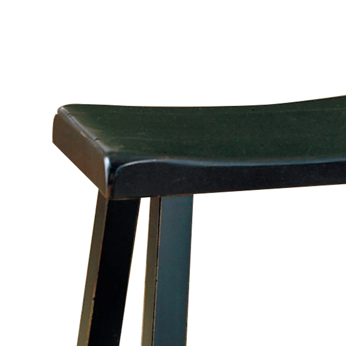 Picture of: Benzara Wooden 18 Counter Height Stool With Saddle Seat Black Set Of 2 Bm175975 Benzara Com
