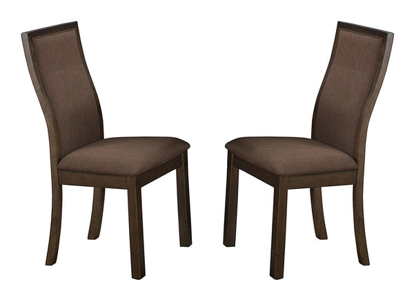 BM176295 Wood & Fabric Dining Side Chair With Curved Back Rest, Set Of 2