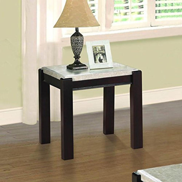 BM176342 Wooden End Table With Marble Top, Dark Cherry Brown And White
