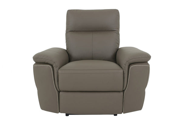 BM176400 Leather Upholstered Power Recliner Chair With Plush Arms, Raisin Gray