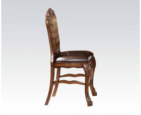 Leatherette Side Chair with Crown Top and Claw Feet, Set of 2, Brown - BM177831