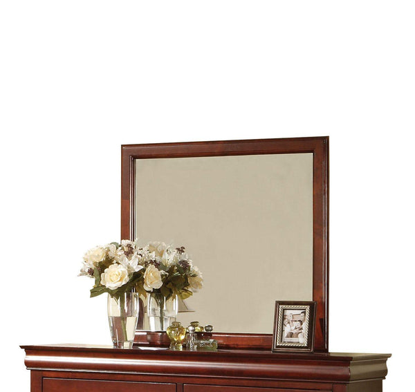 Wooden Frame Mirror , Cherry Brown  - BM177852