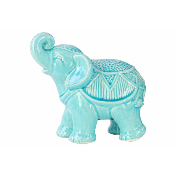 Ceramic Glossy Standing Trumpeting Ceremonial Elephant Figurine, Blue - BM179097