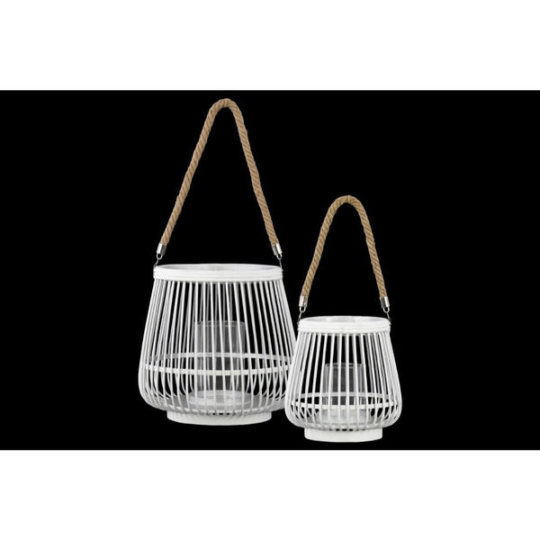 Bamboo Round Lantern with Rope Hangers, Set of Two, White - BM179133