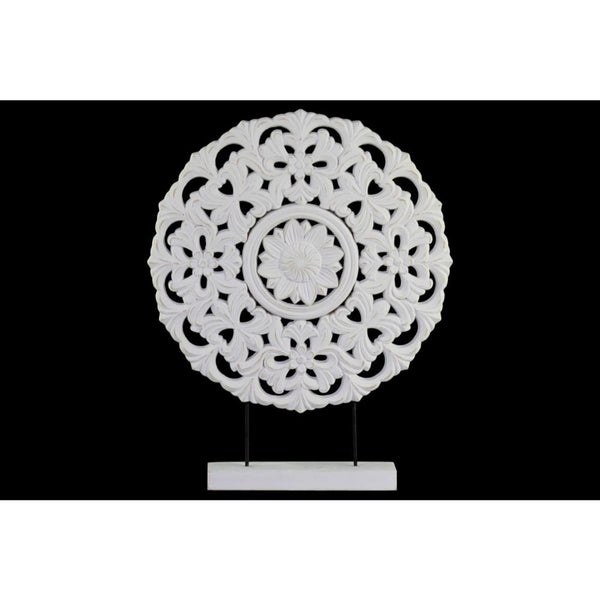 Wood Round Floral Wheel Ornament on Rectangular Stand in LG Matte Finish, White