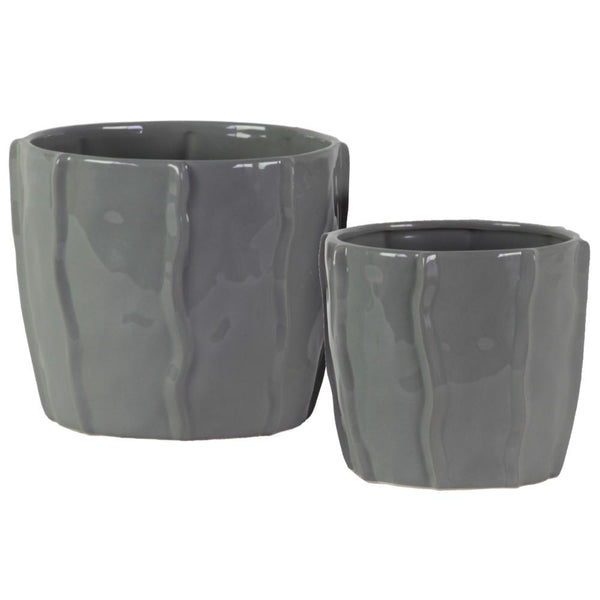 Ceramic Pot With Embedded Wave Design, Glossy Gray, Set of 2