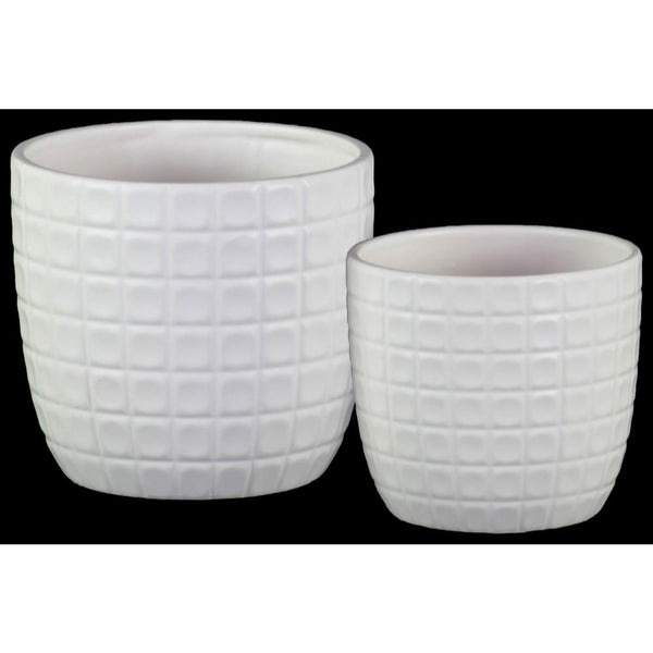 Round Shaped Ceramic Pot with Embossed Lattice Square Design, White, Set of 2