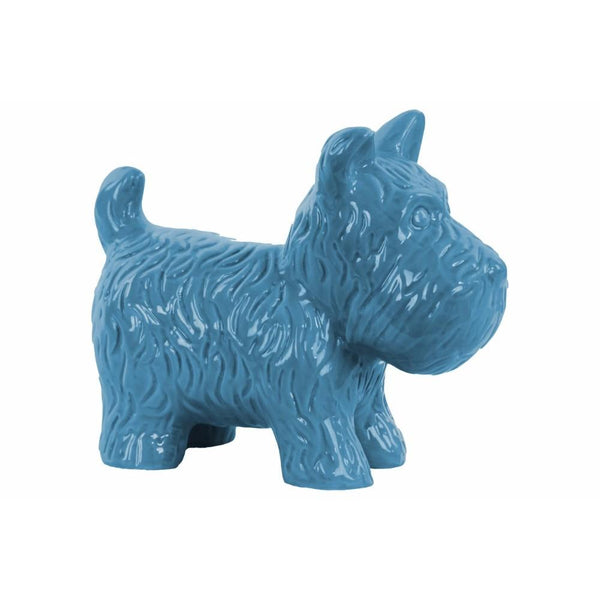 Ceramic Standing Welsh Terrier Dog Figurine, Glossy Blue
