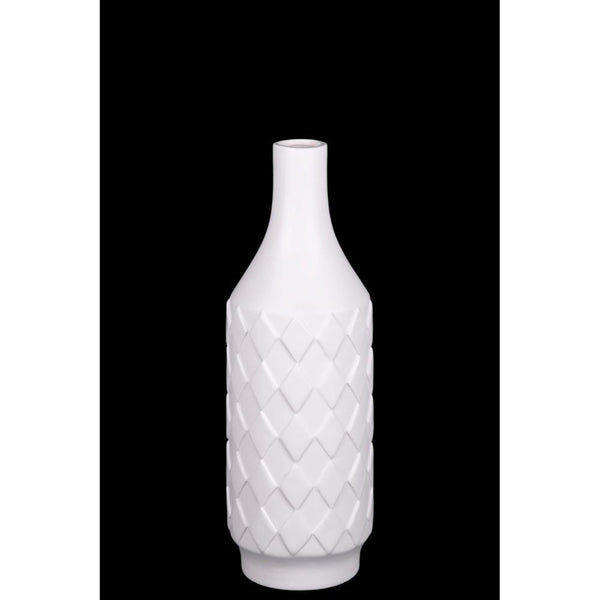 Artistically Designed Ceramic Bottle Vase With Diamond Pattern, Small, White