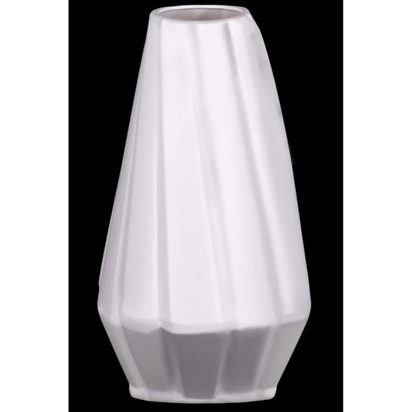 Ceramic Vase With Low Belly And Tapered Bottom, White