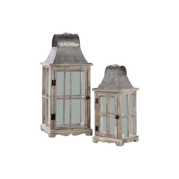 Wooden Lantern With Metal Top And Ring Handle, Set Of 2, Natural Brown