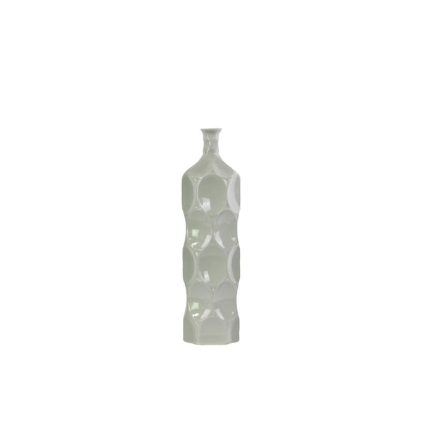 Contemporary Ceramic Bottle Vase With Dimpled Sides, Medium, Gray