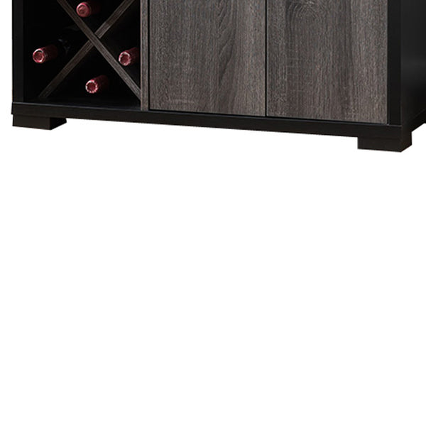 Dual-Tone Wooden Wine Cabinet, Black & Distressed Gray - BM179615