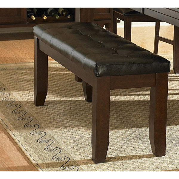"Wood & Bi-Cast Vinyl 60"" Bench With Tufted Seat, Dark Brown"