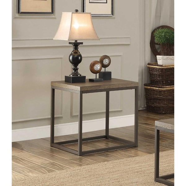 End Table In Metal Frame With Grey Weathered Wood, Grey