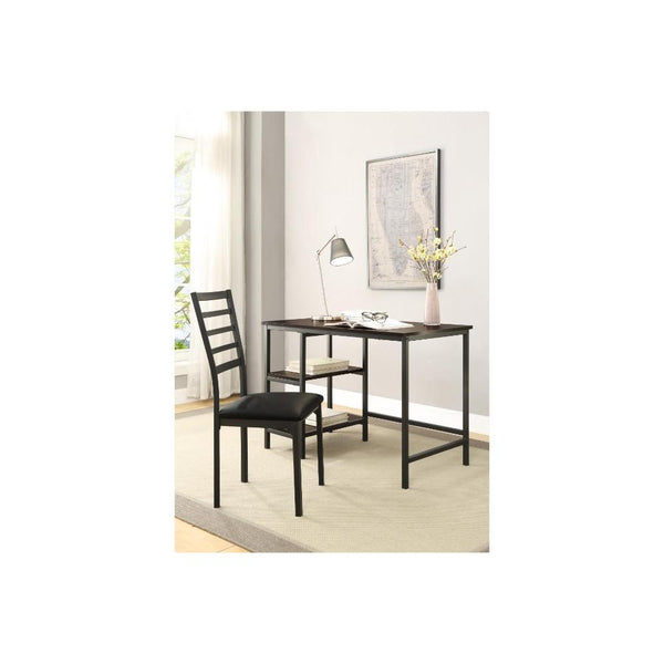 Metal And PU Study Computer Set With Writing Desk And PU Chair, Black