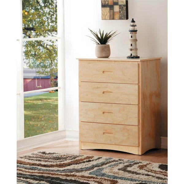 Spacious 4 Drawer Wooden Chest , Natural Brown