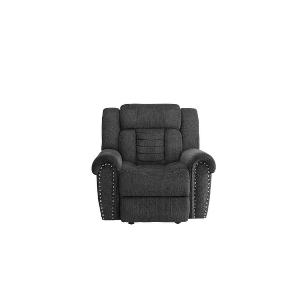 Fabric Upholstered Glider Recliner Chair, Charcoal Gray