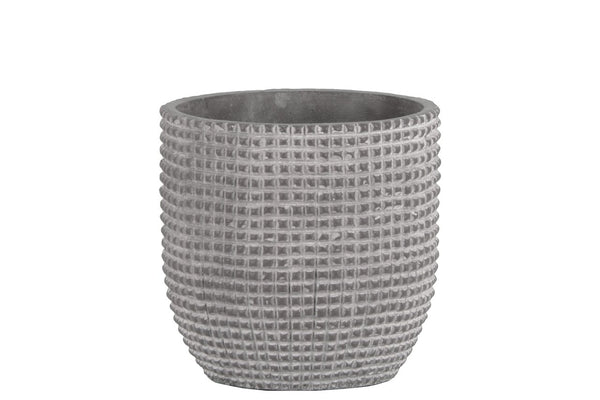 Cement Engraved Square Lattice Design Pot With Tapered Bottom, Medium, Light Gray - BM180824