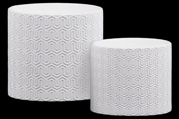 Stoneware Cylindrical Embossed Lattice Wave Design Pot, Set of 2, White