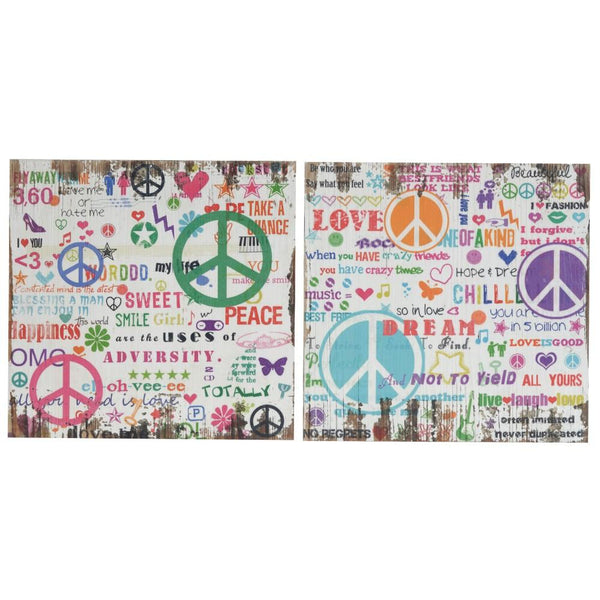 Distressed Wooden Wall Plaques With Colorful Doodles, Set of 2