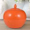 Round Ceramic Lidded Bellied Jar, Orange - BM180941