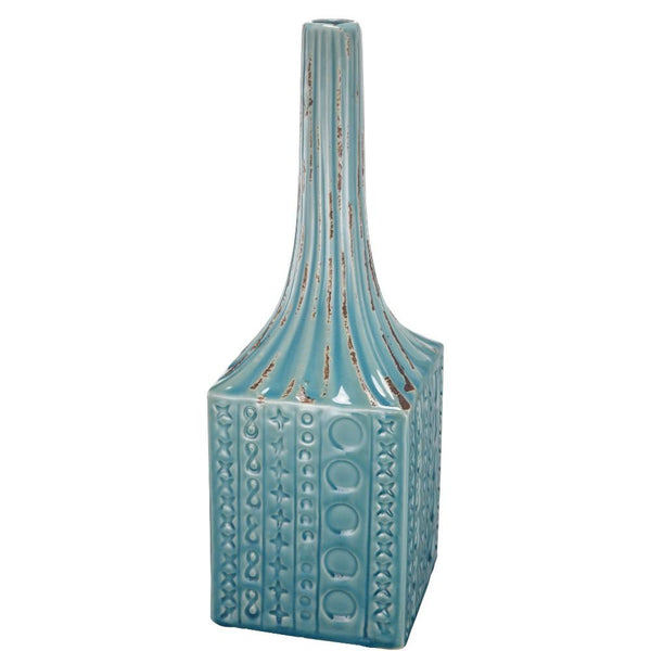 Patterned Ceramic Garden Vase With Elongated Top, Blue