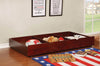 Transitional Style Wooden Trundle With Large Storage Drawer, Warm Cherry Brown